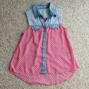 Tops - Denim and sheer sleeveless shirt size Small